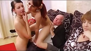 Grandfather fucks orgy with three girls