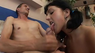 LUCKY OLD GUY FUCKS SEXY BRUNETTE !!