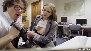 Lustful secretary Ava Hardy gets caught masturbating