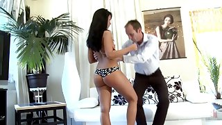Teen with deserted behavior Victoria gets spanked and punished by strict stepdad