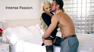 Microscopic blondie in perfidious stockings Emma Hix rides a dick and gets doggy fucked