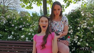 Izzy Lush likes to fuck outside concerning a strong neighbor without mercy