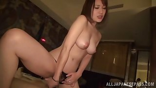 Lovely Japanese moves her black panties for friend's hard cock