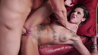 Bonnie Rotten gets her succulent pussy pleased in many poses by a dude