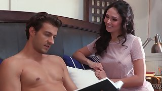Zealous brunette girl Ariana Marie has lured roommate and rides his dick