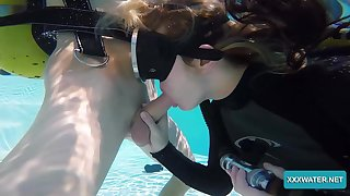 Sexy chick in scuba Monica is sucking a dick under the water