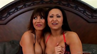 Foxy Asian milfs in fishnet stockings roughly on a big load of shit