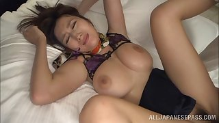 Uniform-clad Asian babe with a spectacular ass enjoying an awesome gangbang