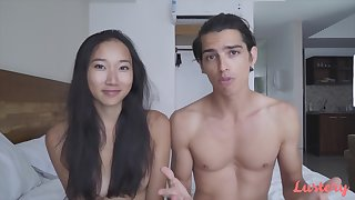 Young Asian Luna hint at with her boyfriend James in the inn room