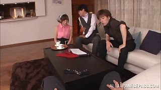 Sultry Japanese teen in glasses getting hammered in a hot mmf threesome
