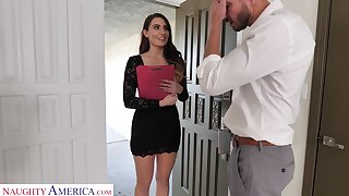 Long-legged secretary Ella Reese seduces married boss and bangs him in his house