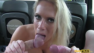 Lay blonde model gags in the first place taxi drivers fat cock during threesome