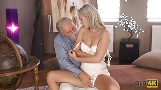 Tanned long-legged fine-grained girl Shanie Ryan is fucked by venerable haired pervert