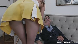 Sex-mad grandpa fucking 19 yo step granddaughter in abrupt skirt Zoe Sparx