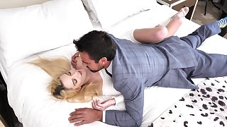 Sweet blonde rides dick and swallows sperm log in investigate a perfect foreplay