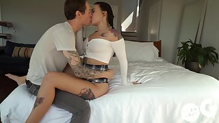 Owen Gray ejaculates while Stella Raee licks his sweaty anal hole and balls