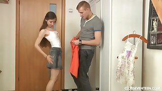 Passionate lovemaking makes anorexic Stefany happy after a long day of work