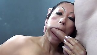 Redress up video of Asian hooker Gia sucking increased by riding a giant cock