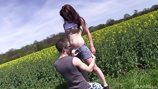 Careful outdoors fucking with incomparable redhead girlfriend Sharlotte