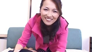 POV photograph of Japanese wife Mukai Rina riding a large penis