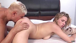 Doggy pleasures after missionary with an increment of cum on face sooner