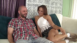 Sweet chick Sara Luvv drops on the top of her knees to make him hard for lovemaking