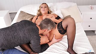 Vicar and doggy style of this beamy mature close by huge jugs