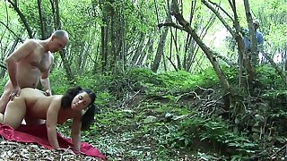 Young teen slammed in the woods by her old trainer