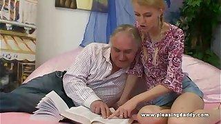 Young Blond Slut Fucks Her Old Tutor