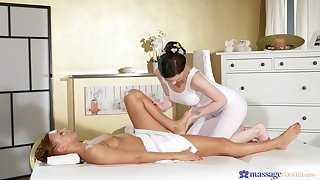 Whip softcore in resemble closely after a remarkable lezzie massage