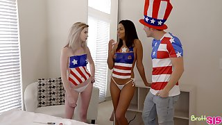 Lexi Tutoring and Vienna Black celebrate July Fourth with a threeway fuck