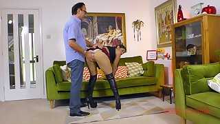 Sahara Knite wears a slutty uniform inclusive not later than sex with older man