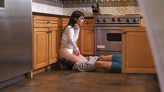 Spy cams capture teen Savannah Sixx worthless in the kitchen