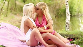 Blonde beauties share their lust be proper of the pussy in exclusive lezzie scenes
