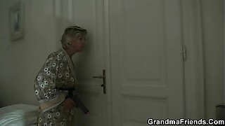 Mature lady is slammed by two robbers