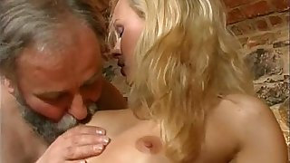 Bearded old man gets to fuck this blonde