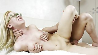 Blonde coed with glasses and natural titties fucked on the purfling limits