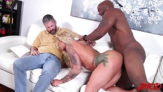 Cum loving wife Ryan Conner rides a black flannel for say no to husband
