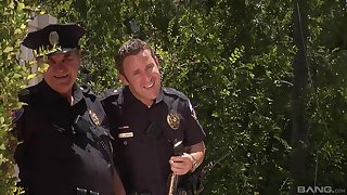 Outdoor fun with the cops of a torrid wife