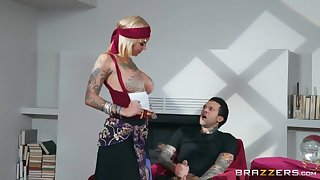 Busty tattooed hooker gives deepthroat BJ outdoors and wins some hard anal