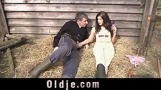 Slutty countryside girl sucking and fucking farmer's dick